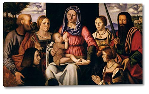 "Virgin and Child with Saints and Donors by Bernardino Luini - 10"" x 16"" Gallery Wrap Canvas Art Print - Ready to Hang"