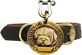 Pet Supplies Pure Copper Embossed Custom Dog Brand Free Lettering All Kinds of Dogs Complete Pure Leather Collar Highlight...