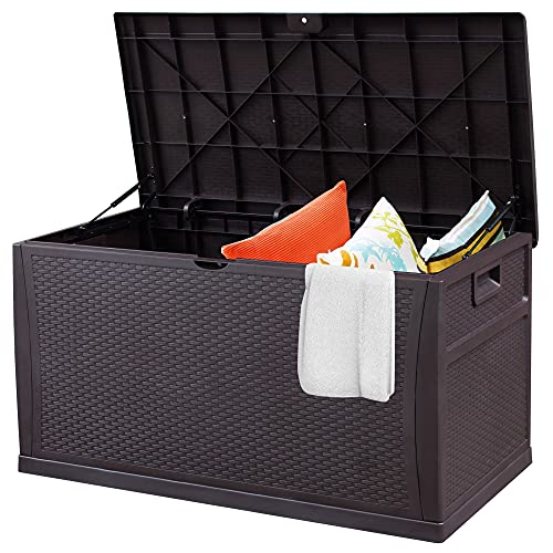 120 Gallon Large Resin Deck Box, Outdoor Waterproof Indoor/Outdoor Lockable Storage Container Box and Seat for Patio Furniture, Garden Tools, Outdoor Cushions and Pool Toys, Brown