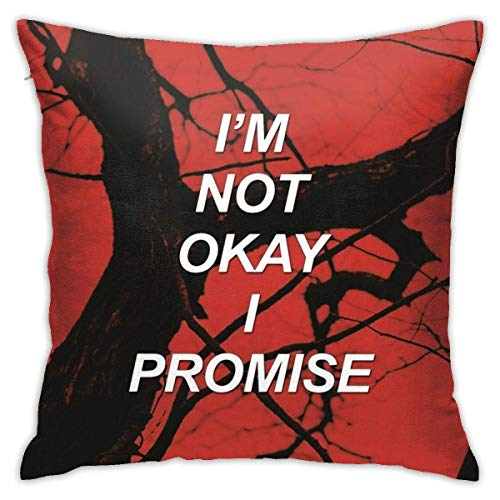 Pillowcase I'M Not Okay I Promise Mcr Sad Lyrics Home Decorative Anime Office Zipped 45X45Cm Cute Dormitory Living Room Couch Sofa Pillow Case Birthday Gifts Square Bedroom Throw