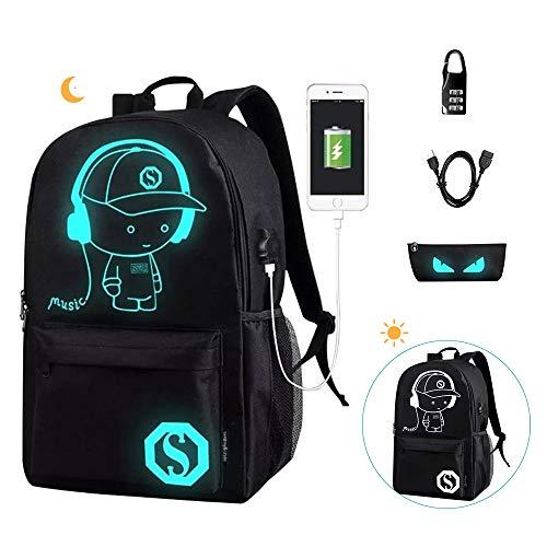 EUATEO Mochila Luminosa Mochilas Escolares con Puerto de Carga USB Mochila Estudiante Unisex Cool Galaxy…