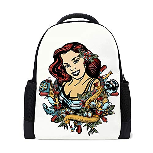 CHEHONG - Mochila para chica marinera, estilo pin-up con tatuajes coloridos, para viaje, portátil, mochila escolar, de poliéster, con múltiples bolsillos, ligera, para adolescentes