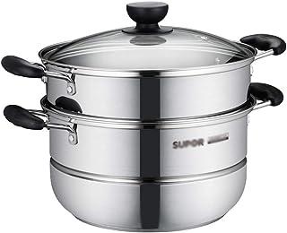 WSJ - Olla de vapor de acero inoxidable con gran capacidad de 30 cm de diámetro, ollas de cocina, 30 x 30 x 32 cm (tamaño: 30 x 30 x 32 cm)