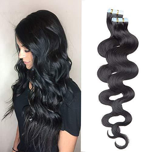 20 Pcs Extension Adhesive Naturel Rajout Vrai Cheveux Humain Bande Adhesive ondulé (#01 Noir foncé, 22\