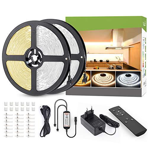 LED Strip 24M Dimmbar Warmweiß 3000K Kaltweiß 6000K, Novostella LED Streifen Band Lichtband Strips mit Netzteil RF Fernbedienung 2880 LEDs 3 Modi 10 Helligkeit einfache Bedienung 24V 1,5M+2M Kabel