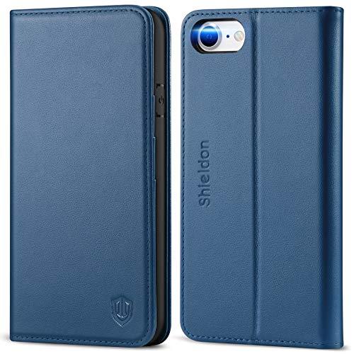 SHIELDON iPhone SE 2020 Hülle, Stoßfeste Handyhülle iPhone 8 [Echtleder] [Standfunktion] [Magnetverschluss] [Kartenfach], TPU Schutzhülle Lederhülle Tasche Kompatibel für iPhone 7/8/SE2 4,7 Königsblau