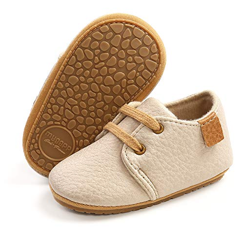 SOFMUO Baby Boys Girls Lace Up Leather Sneakers Soft Rubber Sole Infant Moccasins Newborn Oxford Loafers Anti-Slip Toddler Wedding Uniform Dress Shoes(A/Beige,12-18 Months)