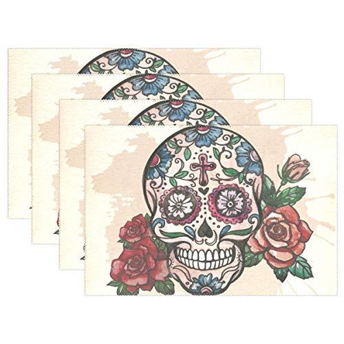 Eliuji Home Skull Art Cross Flower Vintage Antideslizante para Mesa de Comedor 6PC Manteles Individuales Resistentes a la Mariquita Alfombrillas de Mesa Resistentes al Calor