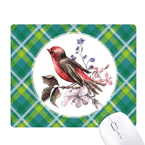 Alfombrilla para ratón con diseño de celosía y pájaros, color verde