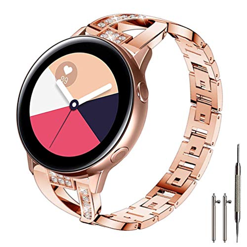 Sankel Compatible for Samsung Galaxy Watch Active 2 40mm/44mm Bands,Women Metal Replacement Chain Bling Bracelet Strap Wristband for Galaxy Watch Active 40mm/Galaxy Watch 42mm/Gear Sport (Rose Gold)