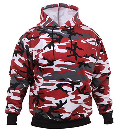 Rothco Camo Pullover Hooded Sweatshirt, Red Camo, L