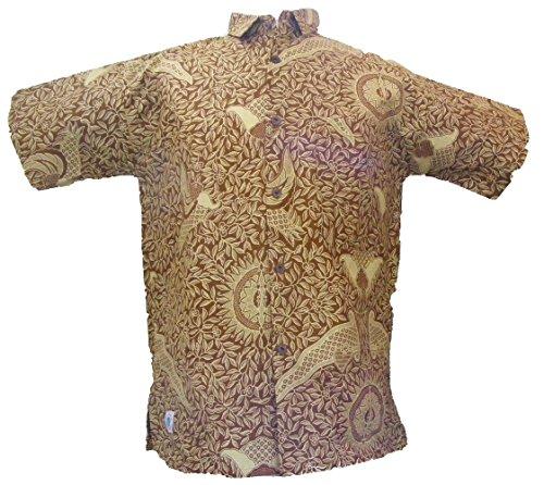 One World is Enough Marron Classique Chemise Imprimée Batik Tropical - 100% Coton - Commerce Équitable - Marron, Large