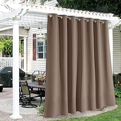 home patio curtains RYB HOME Outdoor Curtains Waterproof - Sun Blocking Curtains Heavy Duty Vertical Blind Grommet Shades for Garage Patio Door Window Porch Pergola, W 100 inches x L 84 inches, 1 Panel, Chocolate