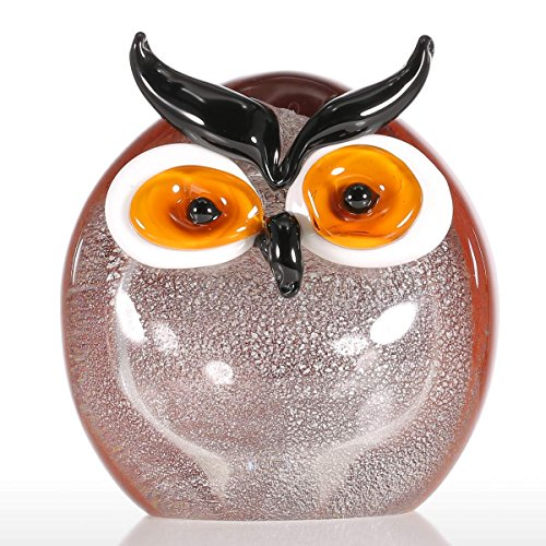 Tooarts Chubby Owl Ornements en verre Animal Figurine Handblown Home Decor Multicolor