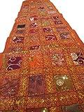 PUSHPACRAFTS Camino de mesa bordado a mano de color naranja azafrán, estilo indio, vintage, de algodón, patchwork, bohemio, decoración de pared