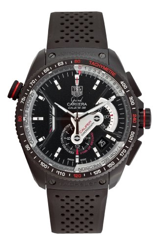Tag Heuer Herren cav5185. ft6020Grand Carrera Automatik Chronograph Schwarz Zifferblatt Armbanduhr
