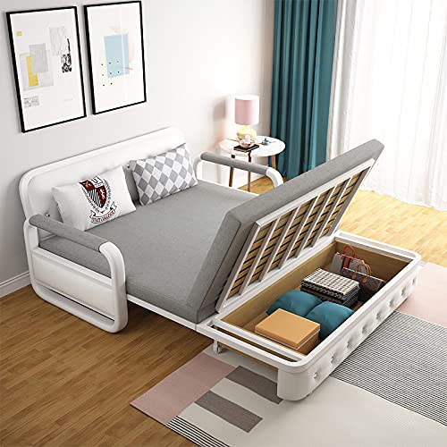 UNICORN FURNITURE Sofa Bed Modern Reclining Foldable Bed Pull Out Sofa Bed With Storage for Living Room Space Saving Sofabed Multifunctional in Made to Match Cushions (Grey/White)