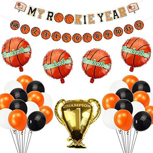 Lilwemen Basketball 1st Birthday Party Supplies, MY ROOKIE YEAR Birthday Banner, First Year Photo Banner and 35 Pcs Balloons for First Birthday Party Baby Shower Decorations