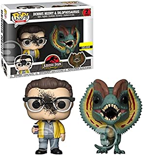 Funko Pop Movies: Jurassic Park - Dennis Nedry and Dilophosaurus Goo-Splattered Pop! Vinyl Figure 2-Pack - Entertainment Earth Exclusive
