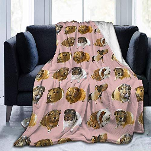 IUBBKI Cobijas de cama súper suaves de color rosa de cobayas, variadas, micro adecuadas para cama, 60 x 50 pulgadas