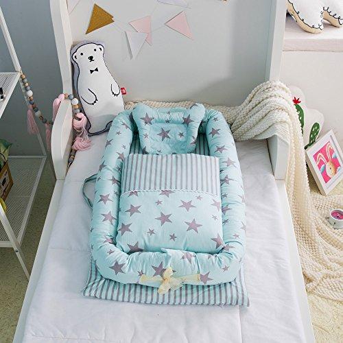 Cuna desmontable y plegable con edredón para bebé, se puede poner encima de una cama (0-24 meses) Starry sky green