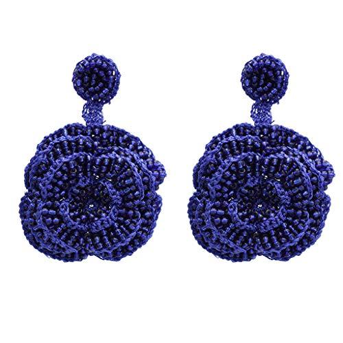 Hellery Pendientes para Mujer Estilo Boho con Cuentas de Cristal Flor Color de Rosa Joya Grande Cuelga Gota - Azul