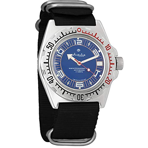 Vostok Militar ruso Diver para hombre de anfibios Amphibia Reloj de pulsera Negro Nailon # 11406