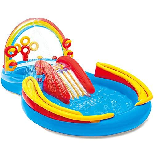 CMAO Piscina Inflable de los niños del jardín, Piscina Grande de la Bola del océano de la Familia, Piscina DE Agua DE Agua DE Agua Patio DE HOGAR-9.7 * 6.3 * 4.4 pies_arcoíris
