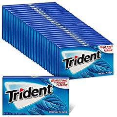 24 packs with 14 pieces each, 336 total pieces, of Trident Original Flavor Sugar Free Gum Original flavored sugar free chewing gum Helps clean and protect teeth while providing fresh breath Made with xylitol Chewing Trident after eating and drinking ...