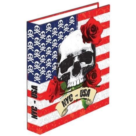 Classeur A4 Carton Dos 40mm Anneaux - NYC USA skull