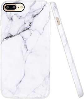 A-Focus Case for iPhone 8 Plus Marble Case, iPhone 7 Plus Case, IMD Design White Marble Pattern Stone Texture Soft Flexible TPU Slim Fit Cover Case for iPhone 7 Plus 8 Plus 5.5 inch Glossy Gray 2