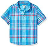 Amazon Essentials Toddler Boy's Short-Sleeve Button-Down Shirt, Madras Blue, 3T
