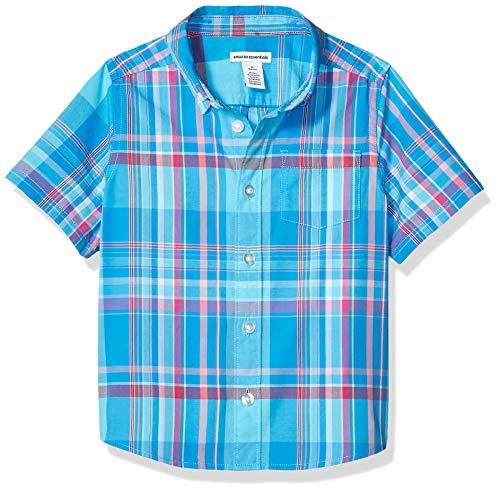 Amazon Essentials Jungen-Kurzarmshirt Poplin/Chambray, Madras Blue, US L (EU 134-140 CM)