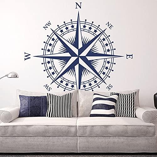 Póster artístico, pegatina de vinilo para pared, brújula náutica, rosa, pegatina de pared extraíble, dormitorio, sala de estar, decoración de oficina en casa, A7 42 × 42 CM
