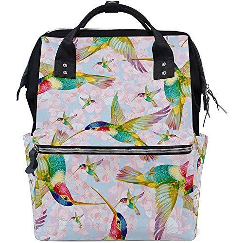 College Bag Aquarell Tier Kolibri Multifunktion Mama Papa Windel Rucksack Große Kapazität Baby Taschen Lässige Reise Reißverschluss Rucksäcke Unisex 28X18X40Cm