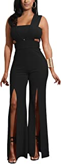 Aro Lora Women's Sexy Outfit Sleeveless Strapless Crop Top + Slit Long Wide Leg Pant Jumpsuit Romper