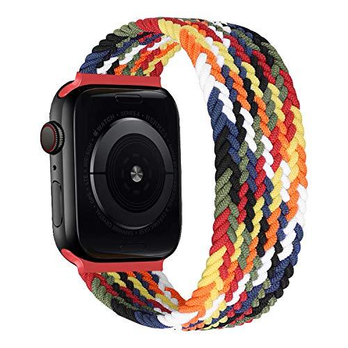 MroTech kompatibel mit Apple Watch Armband 40mm 38mm Uhrenarmband Elastic Woven Loop Ersatzarmband Nylon Stoff Sport Band Ersatz für iWatch SE Serie 6/5/4/3/2/1 Nylonarmband Strap 38/40 mm Bunt/S
