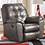 Signature Design by Ashley - Alliston Contemporary Faux Leather Rocker Recliner - Pull-Tab Reclining, Gray