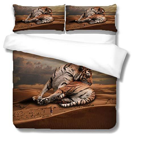 Funda Nordica Cama 135x200 Cm Tigre Gigante Animal con Hipoalergénica Microfibra Impresión Juego de Fundas de Edredón Incluye 1 Funda Nórdica y 2 Funda de Almohada 80x80 Cm