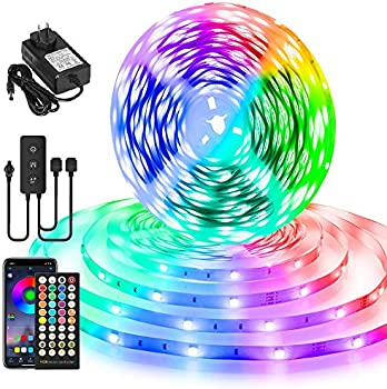 100-ft Color Changing Smart LED Strip Lights with Remote & Music Sync