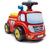 Falk - Porteur Camion de Pompier - Dès 12 Mois - Fabriqué en France - Volant directionnel avec klaxon - Levier à Effet sonore - Coffre de Rangement - Plaque d'immatriculation Personnalisable - 700
