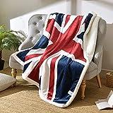 Abreeze Soft Union Jack Throw Blanket Sherpa Fleece Throws Super Comfy Blanket Comfort Caring Gift Blanket 51'x63'