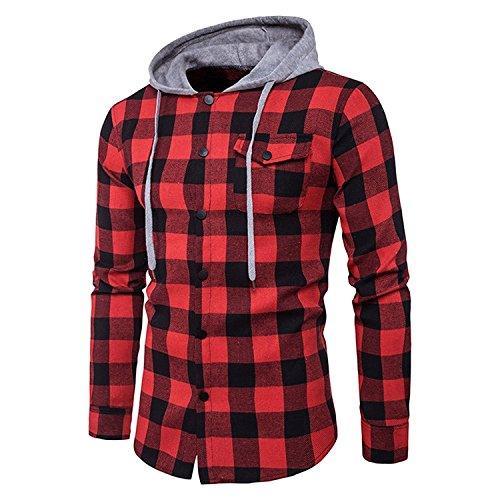 semen Herren erren Hemd Flanellhemd Kapuze gebürstete Baumwolle kariert Langarm Herbst Slim Fit Modern Freizeithemd Hooded Sweat Sleeve Shirt Jacke Winter (EUXL, Rot)