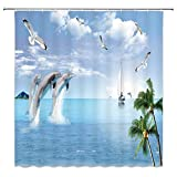 Ocean Theme Shower Curtain Decor Palm Tree Dolphin Mountain Sailing Bird White Cloud Fabric Bath Curtains Shower Curtain Bathroom Accessories Waterproof Polyester with Plastic Hooks 70x70 Inch
