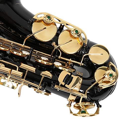 Wosune Set Sassofono Contralto E Piatto, Set Sassofono Piatto E, elettroforesi Oro per Decorazione Regalo Musicista principiante(Black)