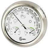 Sunartis THB367 - Estación meteorológica para Exterior de Acero Inoxidable, Aprox. 21 cm de diámetro x 4 cm