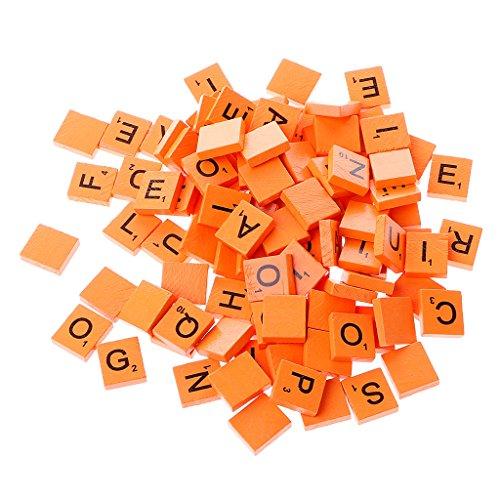 MB-LANHUA 100 Piezas Azulejos de Scrabble de Madera Coloridos Decoración de Boda Decoración de Woden Letras de Mezcla Scrabbles de Alfabeto Barnizado