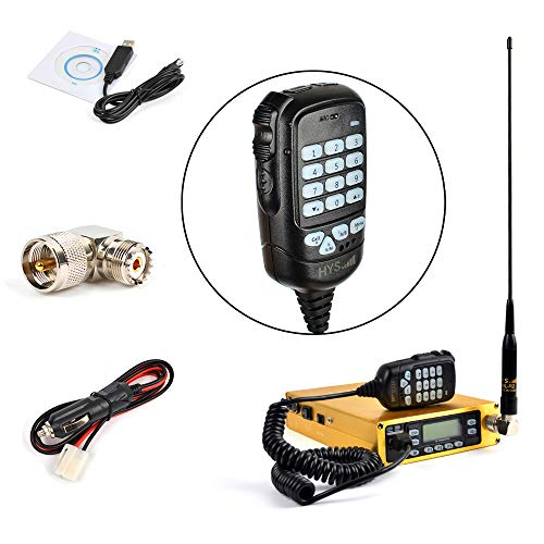 HYS Dual Band VHF/UHF Mobile Transceiver Golden Mobile Ham Radio Amateur Radio Built-in 12000mAh Battery with Programming Cable Antenna SO239 to PL259 Adapter (A Complete Set of)