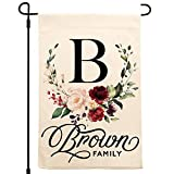 Zexpa Apparel Personalized Garden Flag | Small Vertical Double Sided 12.5' X 18' Porch Flags | Customize Yard House Flag | Floral Wreath Family Name with Initial | C02D07