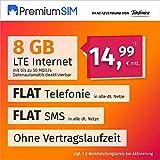 Handyvertrag PremiumSIM LTE XL - ohne Vertragslaufzeit (FLAT Internet 8 GB LTE mit max. 50 MBit/s mit deaktivierbarer Datenautomatik, FLAT Telefonie, FLAT SMS und EU-Ausland, 14,99 Euro/Monat)